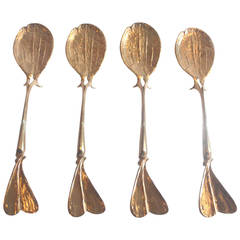 Set of Four Gilt Bronze Spoons by Claude Lalanne for Artcurial