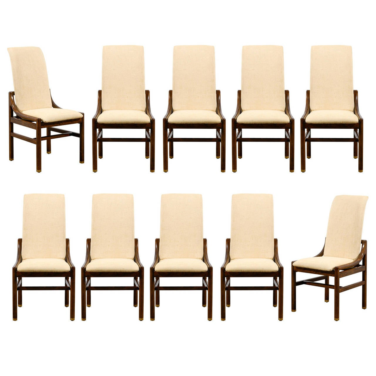 f153462a99625 Gorgeous Set of Ten ( 10 ) Vintage Henredon Dining Chairs in Walnut For Sale