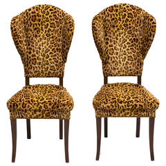 Pair Of Mid Century Leopard Print Occasional Chairs