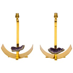 Bronze and Amethyst Lamp in the Manner of Willy Daro