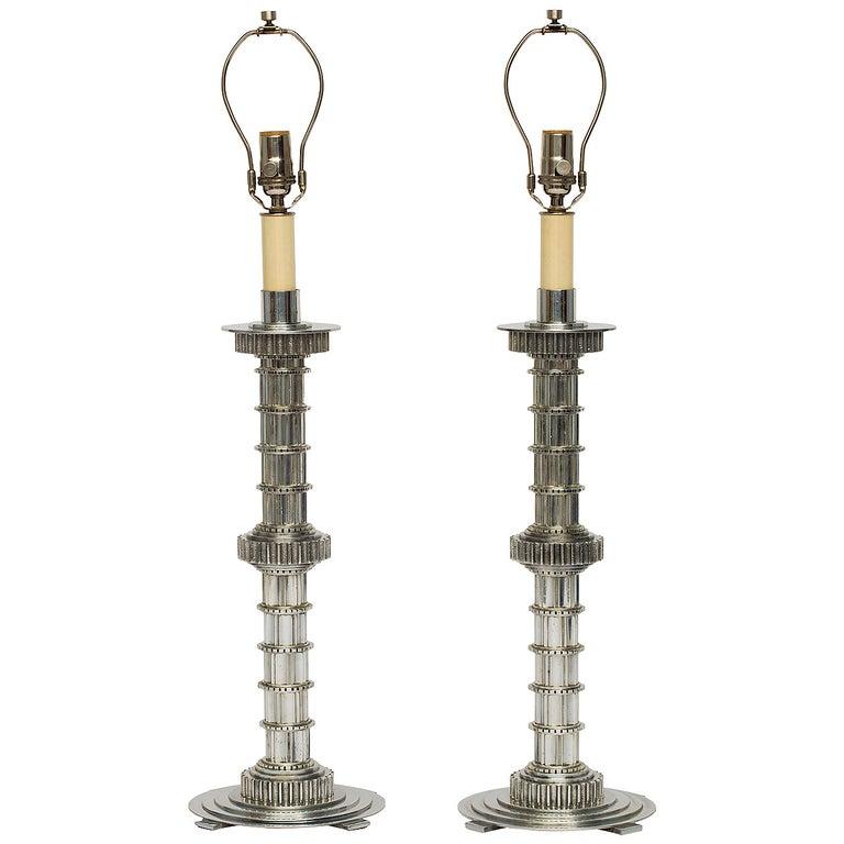 Machine Age Cast Aluminum Lamps For Sale