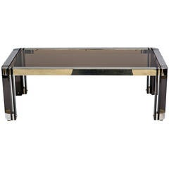 Gunmetal and Nickel Coffee Table in the Style of Karl Springer