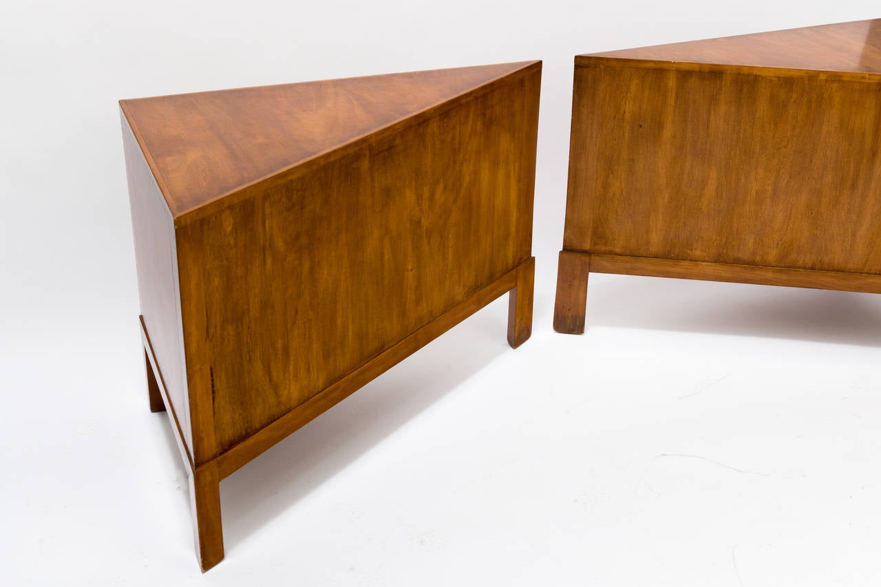Pair of Custom Made Wedge Shaped Side Tables at 1stdibs