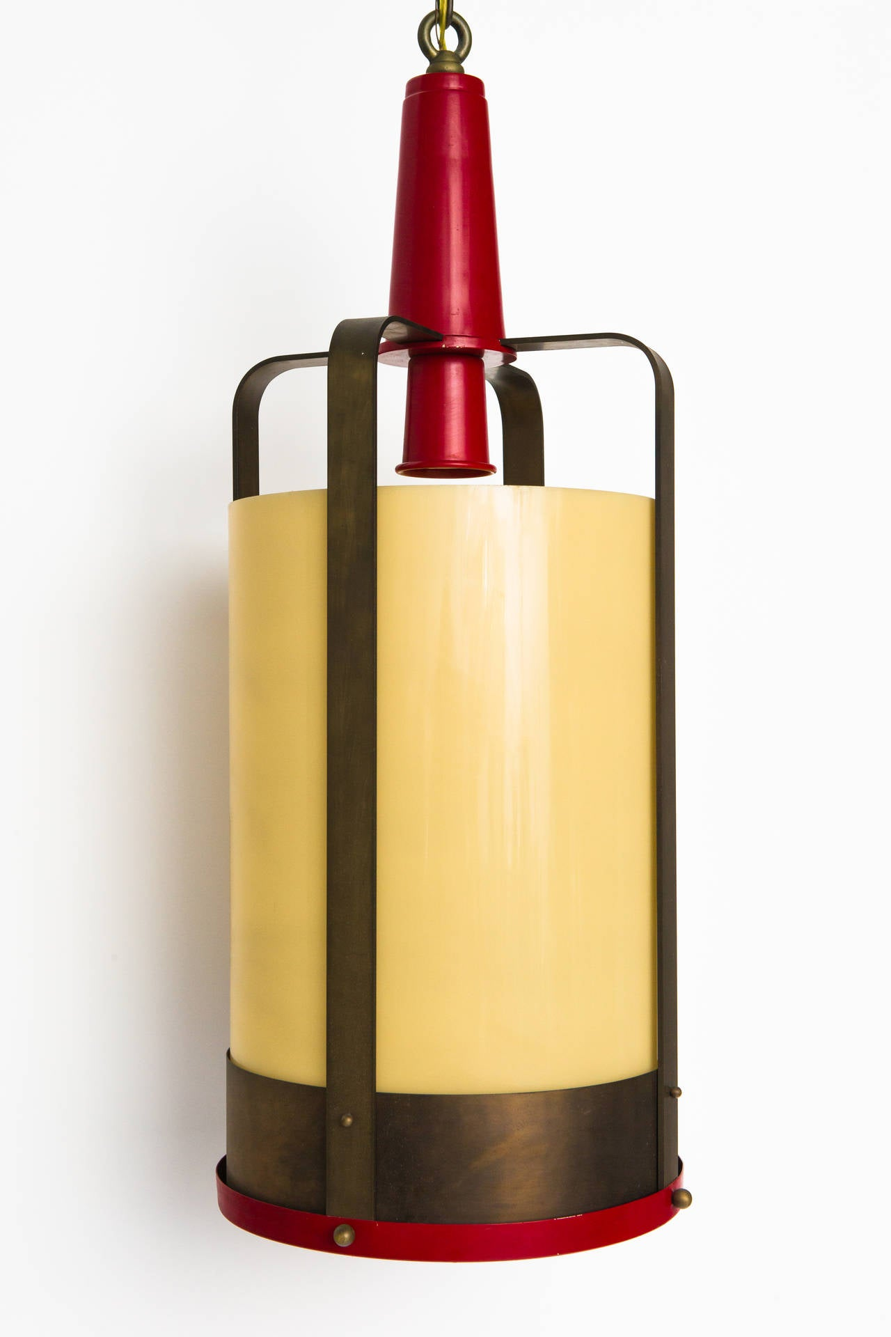 Mid-20th Century Large Pendant Lamp Lantern with Amber Glass Shade For Sale