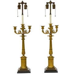 Pair of 19th Century French Empire Gilt Bronze Candelabrum, Mounted as Lamps