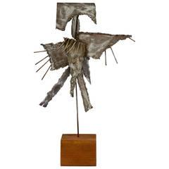Brutalist Metal Sculpture on Base