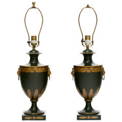 Pair of Tole Urn Table Lamps by Vaughn