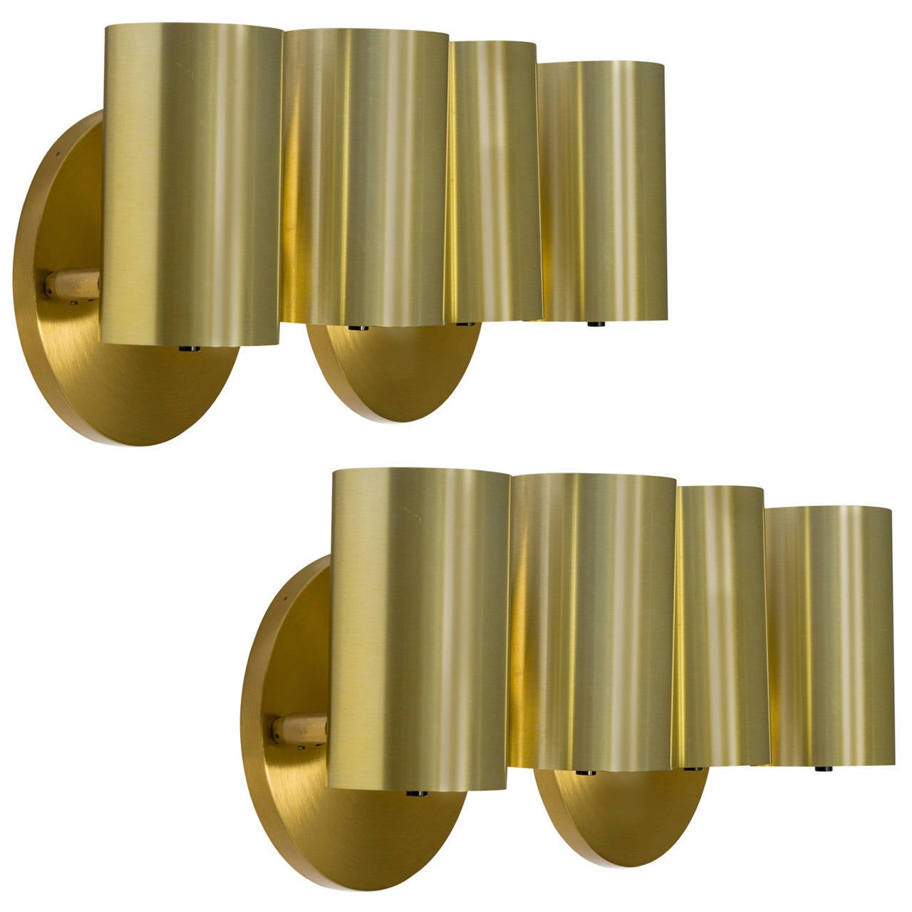 2 pairs of koch and lowy brass cylindrical sconces at 1stdibs - Cylindrical wall sconce ...