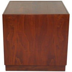 Mid Century Walnut Cube Table/Pedestal By Milo Baughman