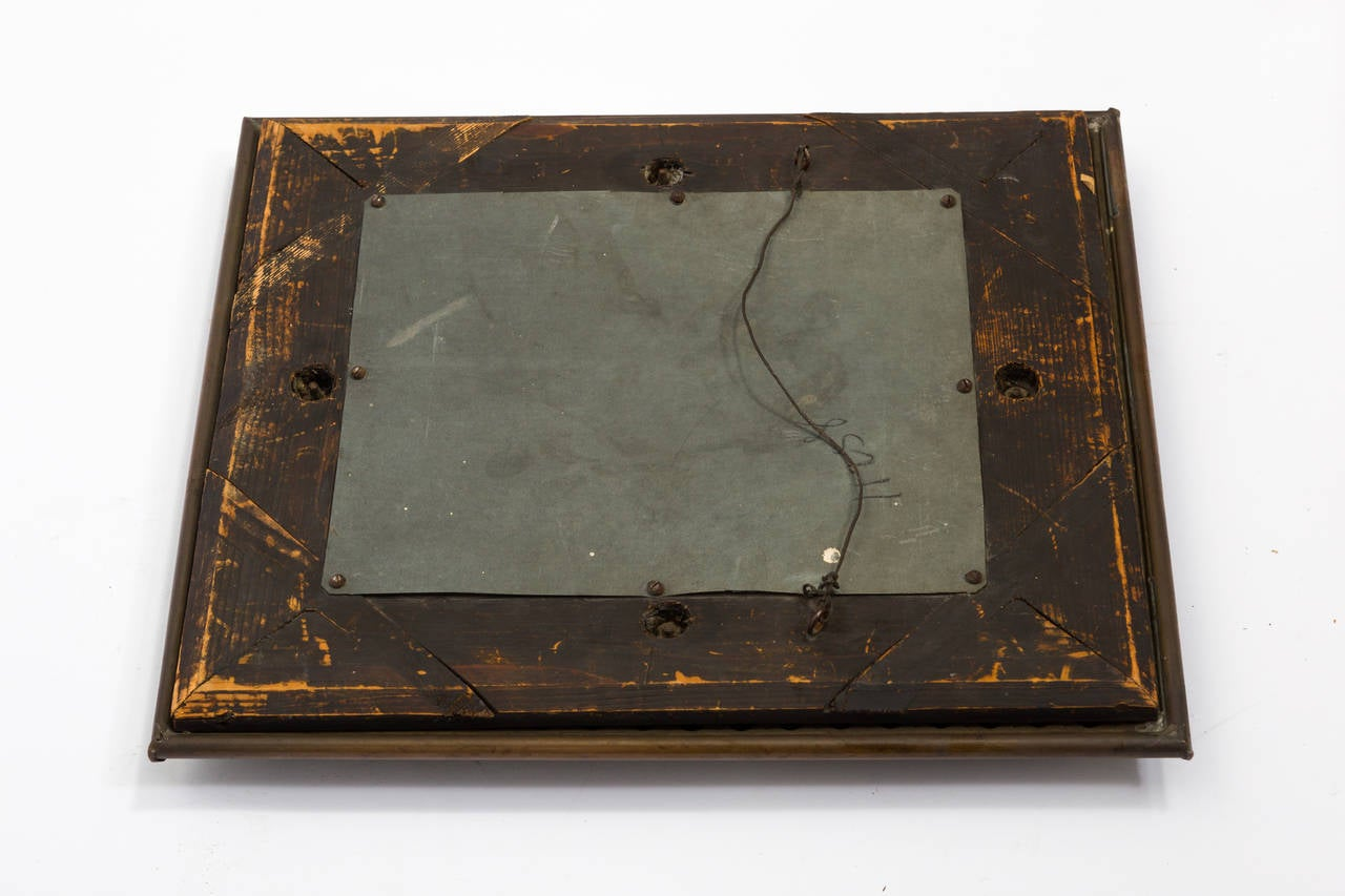 Antique Aesthetic Copper And Wood Wall Mirror At 1stdibs