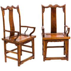Pair of Japanese High Back Armchairs