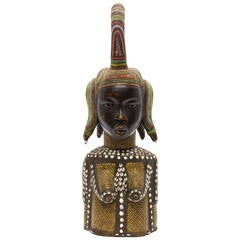Large Beaded African Female Wood Sculpture