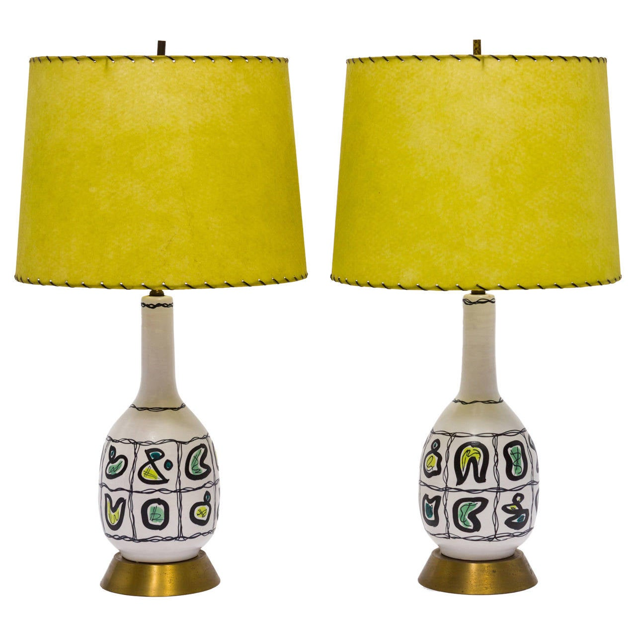 Pair of Italian Ceramic Lamps For Sale