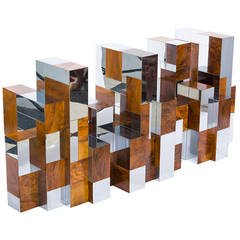 Paul Evans Cityscape Burl Wood and Chrome Dining Table or Desk