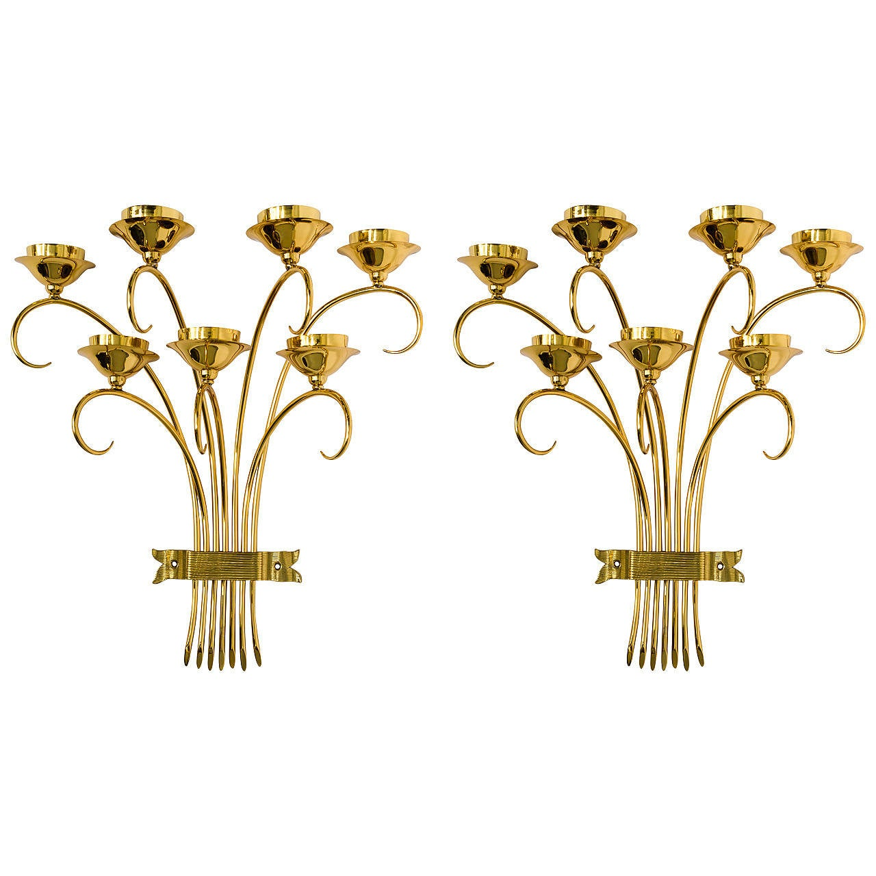 Brass Sconces Wall Lights in the Manner of Tommi Parzinger