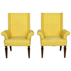 Pair of Mid Century Wing Chairs