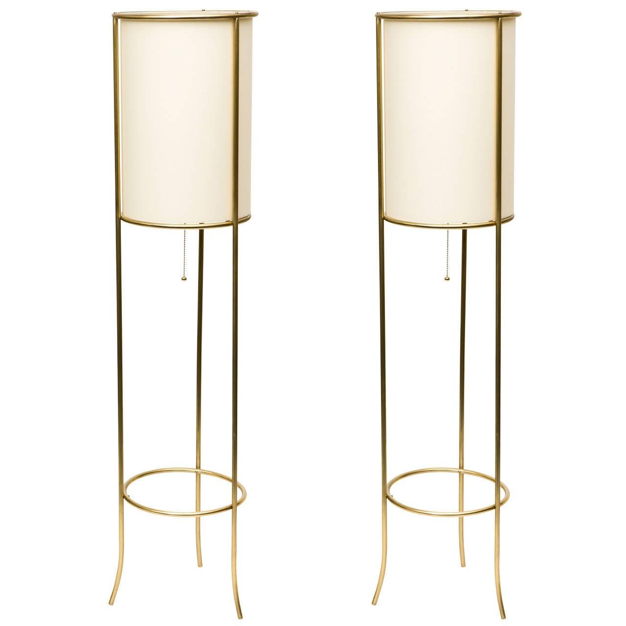 Pair of Tripod Brass Floor Lamps in the Manner of T.H. Robsjohn-Gibbings