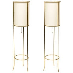 Pair of Tripod Brass Floor Lamps in the Manner of T.H. Robsjohn-Gibbings