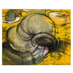 Large Yellow Abstract Painting