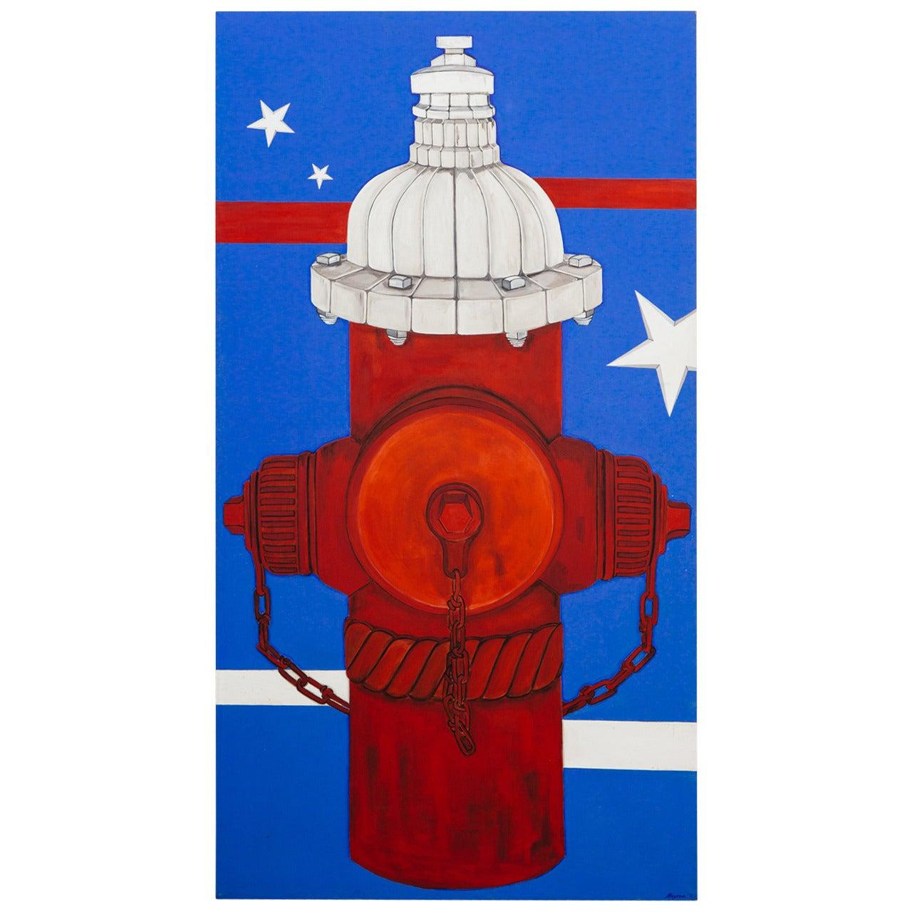 Huge 1971 Pop Art Oil Painting American Flag Capital Hill
