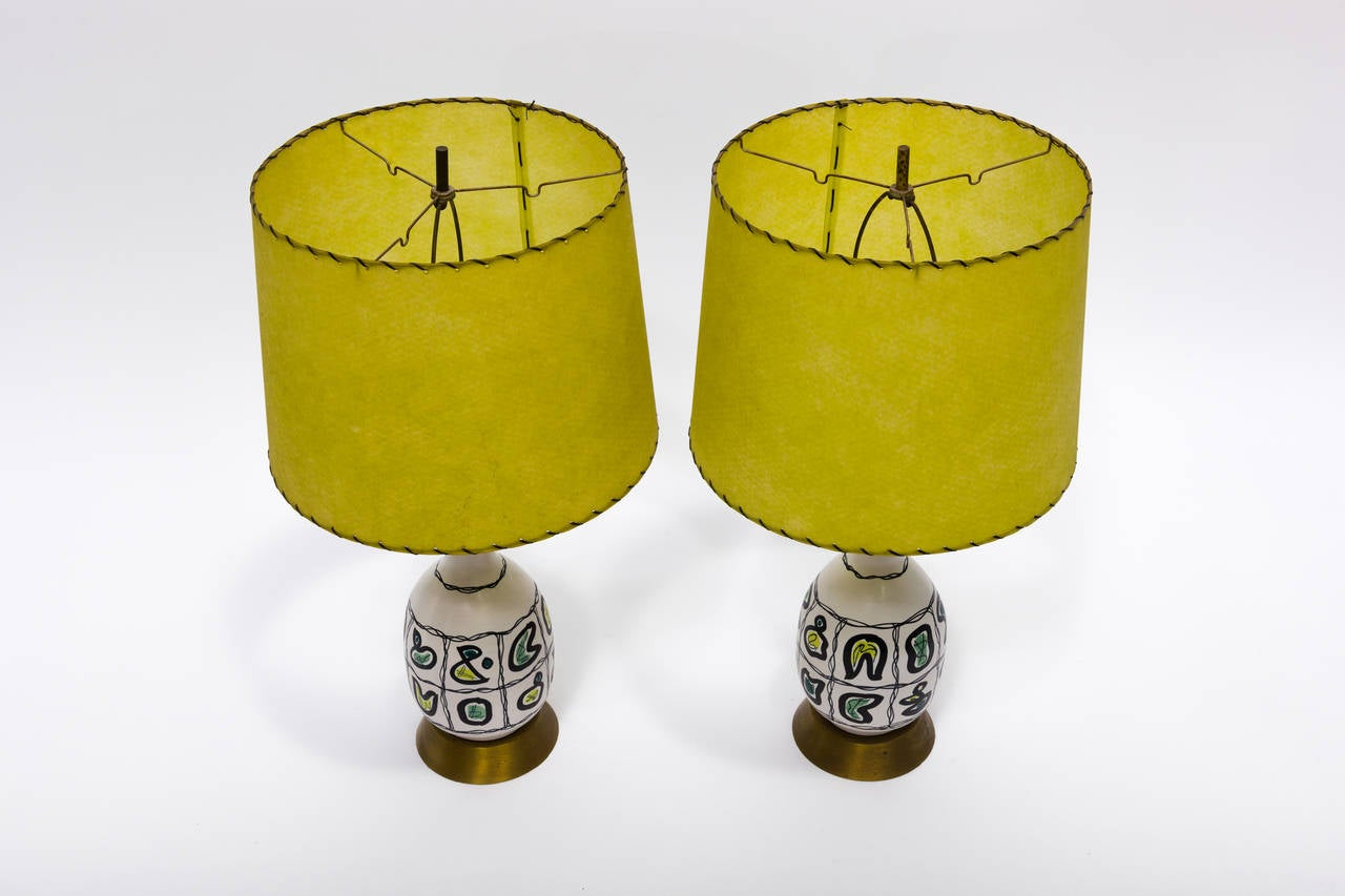 Mid-20th Century Pair of Italian Ceramic Lamps For Sale