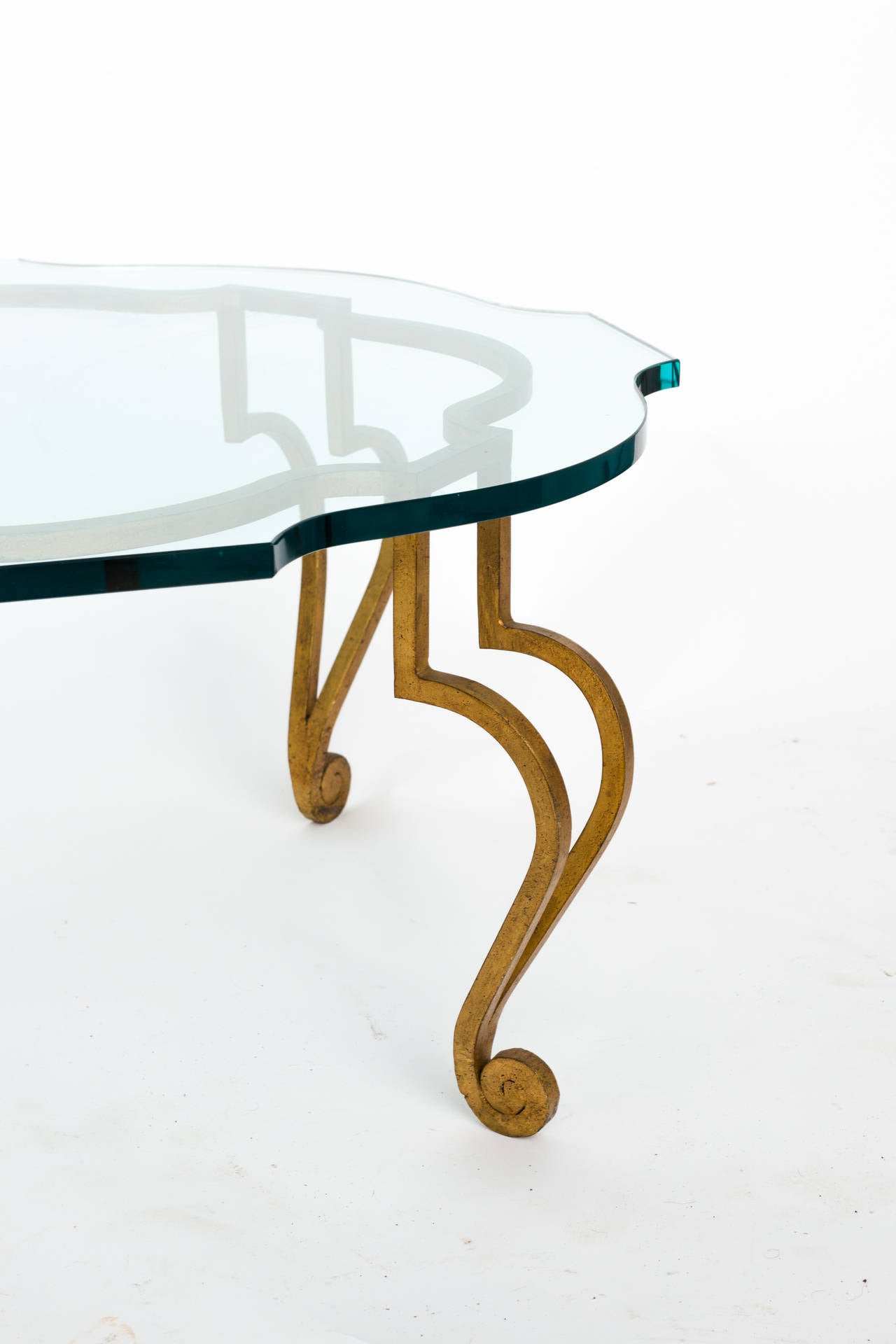 Italian Glass And Gilded Iron Coffee Table At 1stdibs