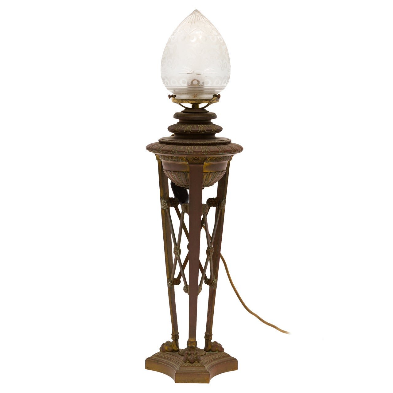 French Bronze 19th Century Converted Oil Lamp