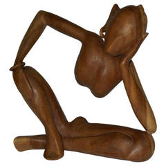 Mid-Century Wood Carved Indonesian Sculpture