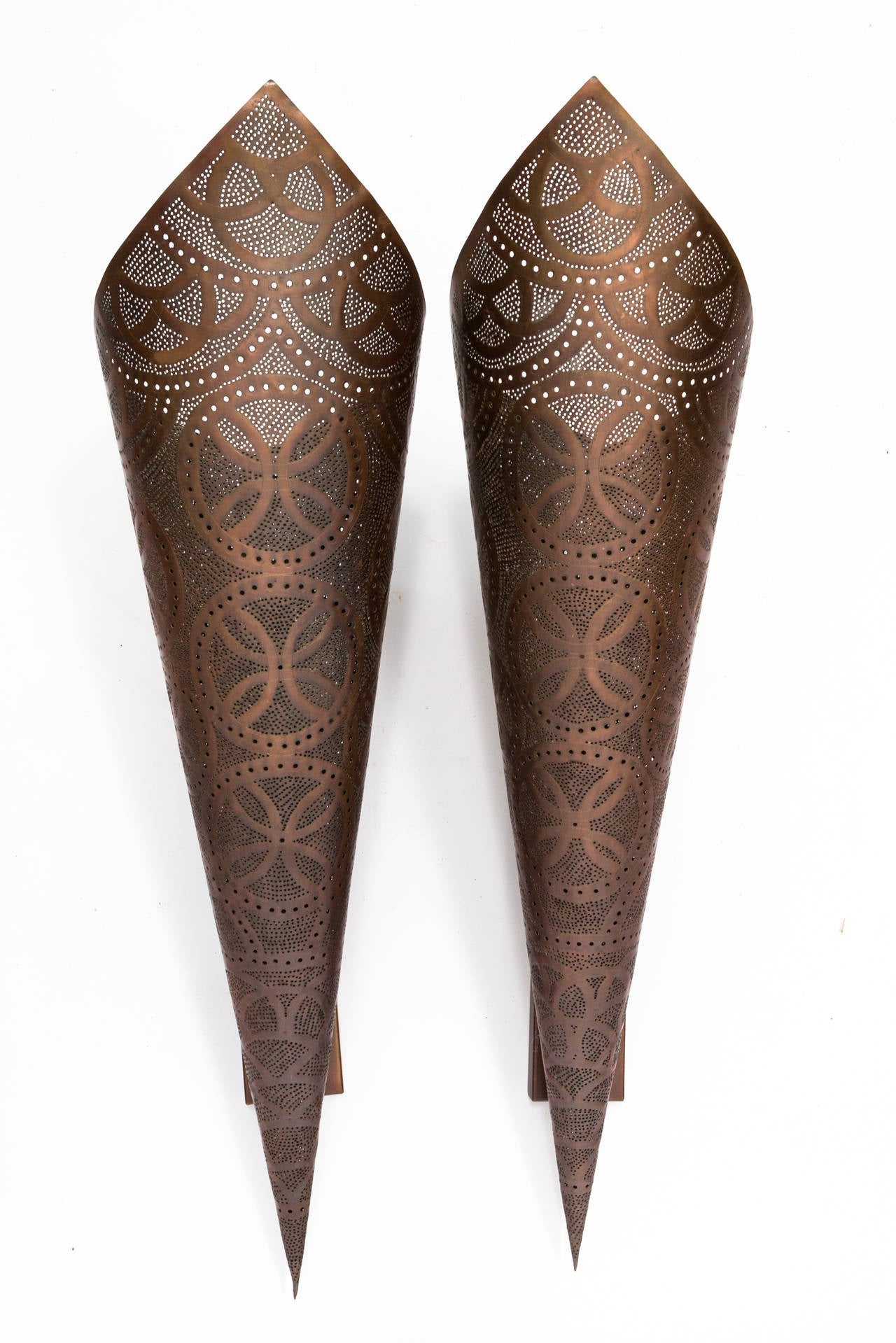 Wall Sconces Copper : Pair of Large Moorish Style Copper Wall Sconces at 1stdibs