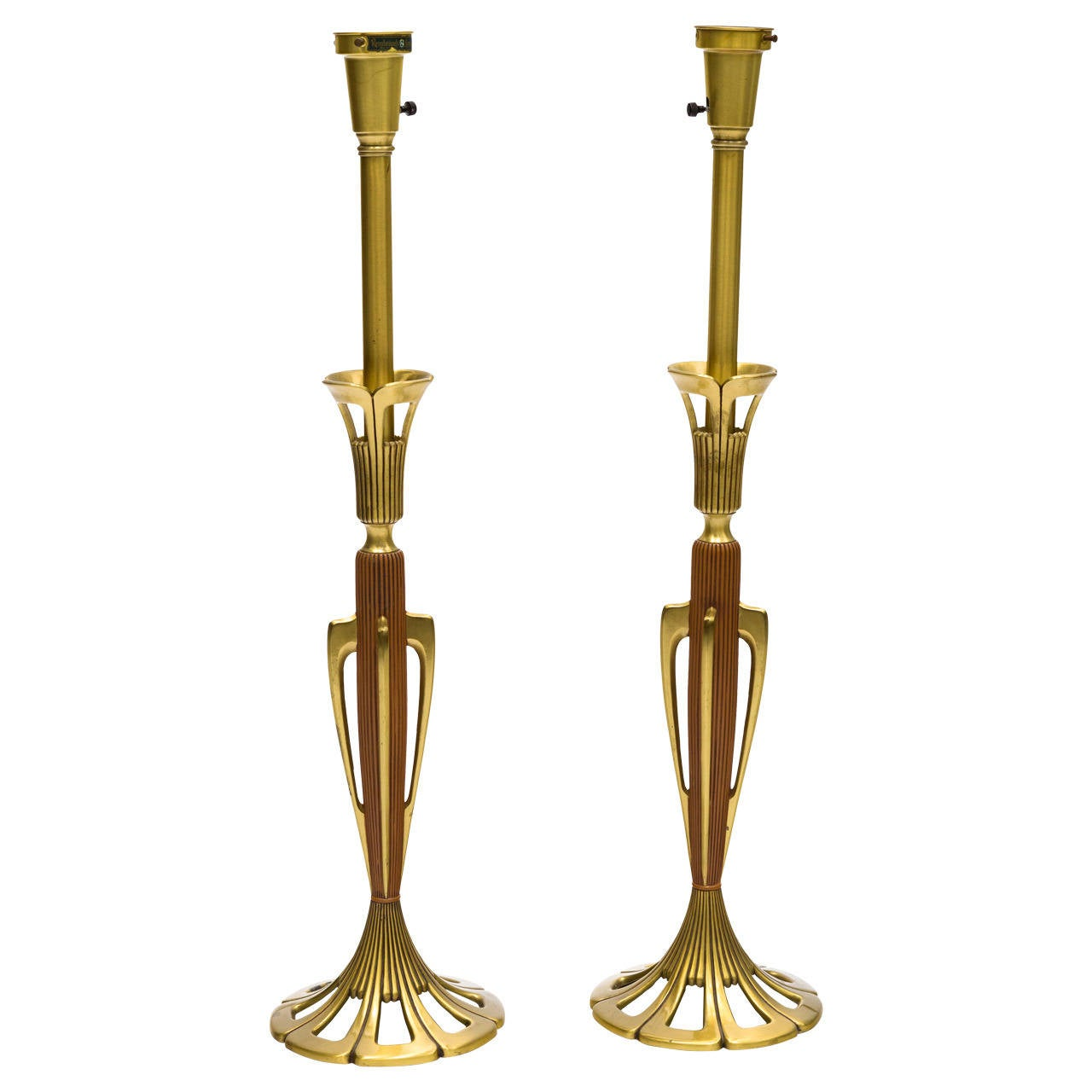 Pair of Brass Sculptural Rembrandt Table Lamps