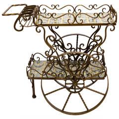 Mexican Iron and Ceramic Tile Tea Cart