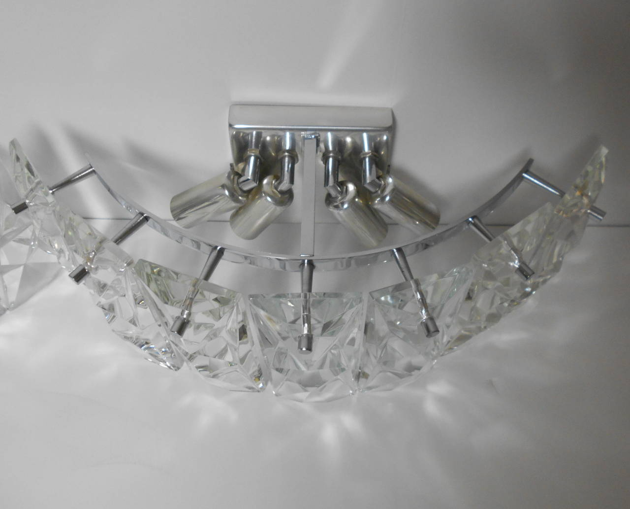Large Crystal Wall Sconces : Pair of Large Chrome and Crystal Wall Sconces by Kinkeldey at 1stdibs