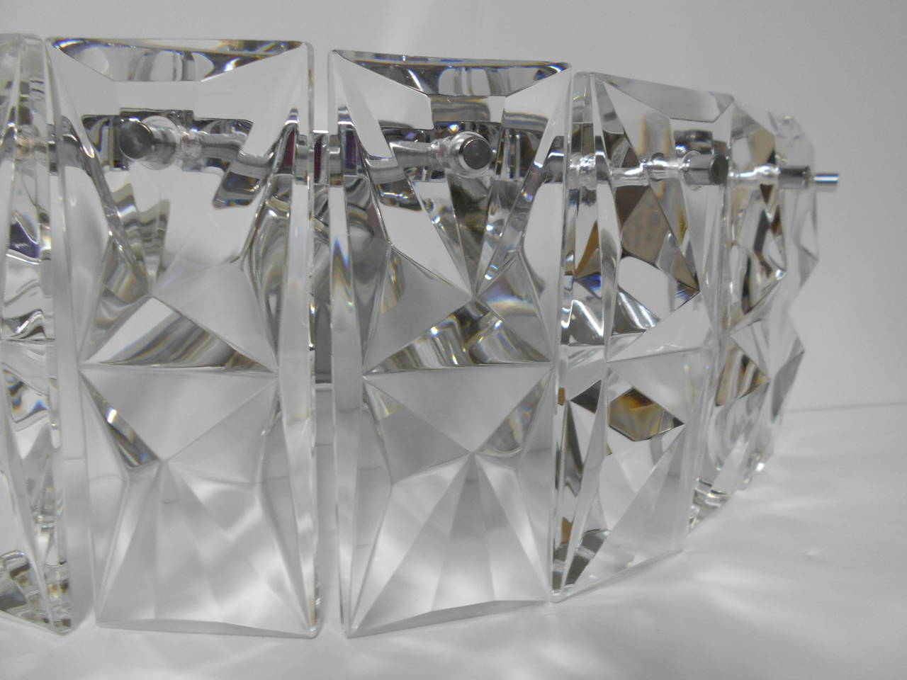 Pair of Large Chrome and Crystal Wall Sconces by Kinkeldey at 1stdibs