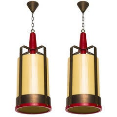 Large Pendant Lamp Lantern with Amber Glass Shade