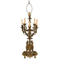 Large Bronze French Candelabra Lamp