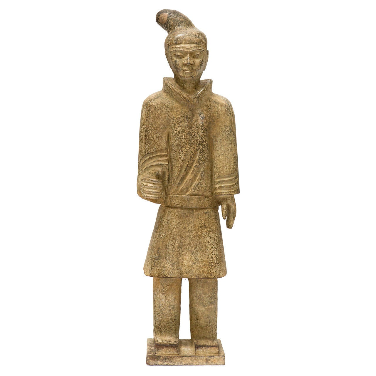Carved Stone Asian Guard Statue