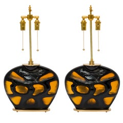 Tortoise Shell Glass and Brass Lamps