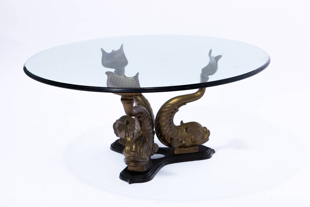 Brass Italian Dolphin Coffee Table At 1stdibs