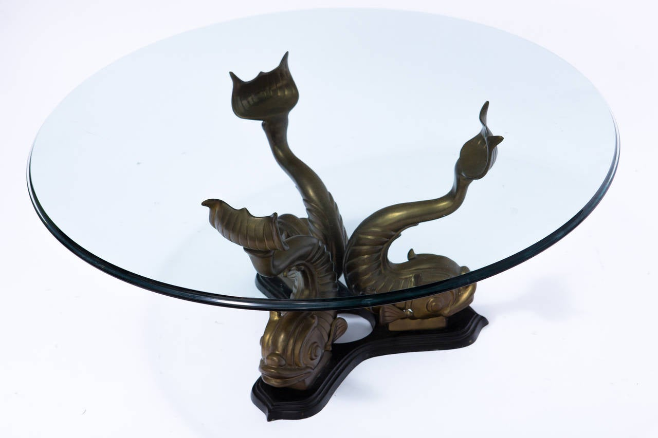 Brass Italian Dolphin Coffee Table For Sale At 1stdibs
