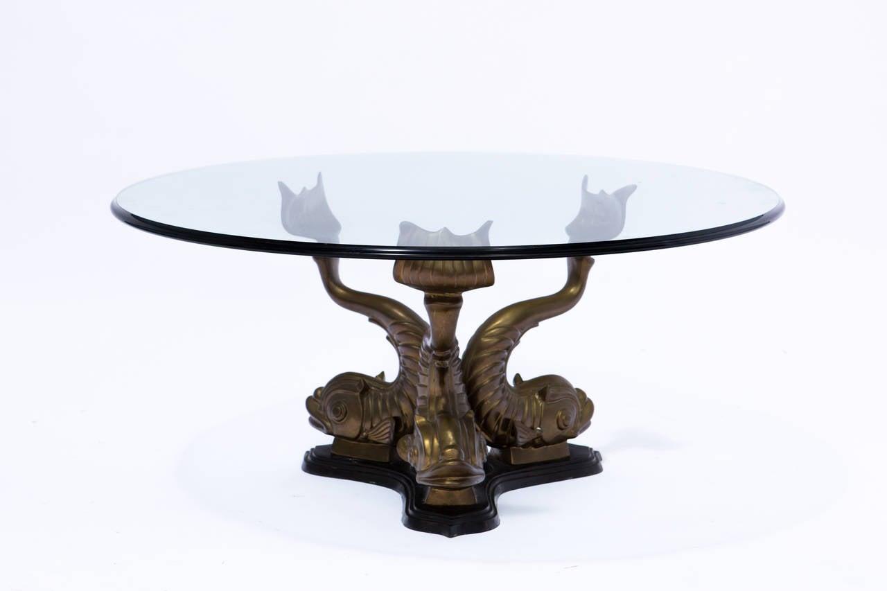 Brass Italian Dolphin Coffee Table At 1stdibs