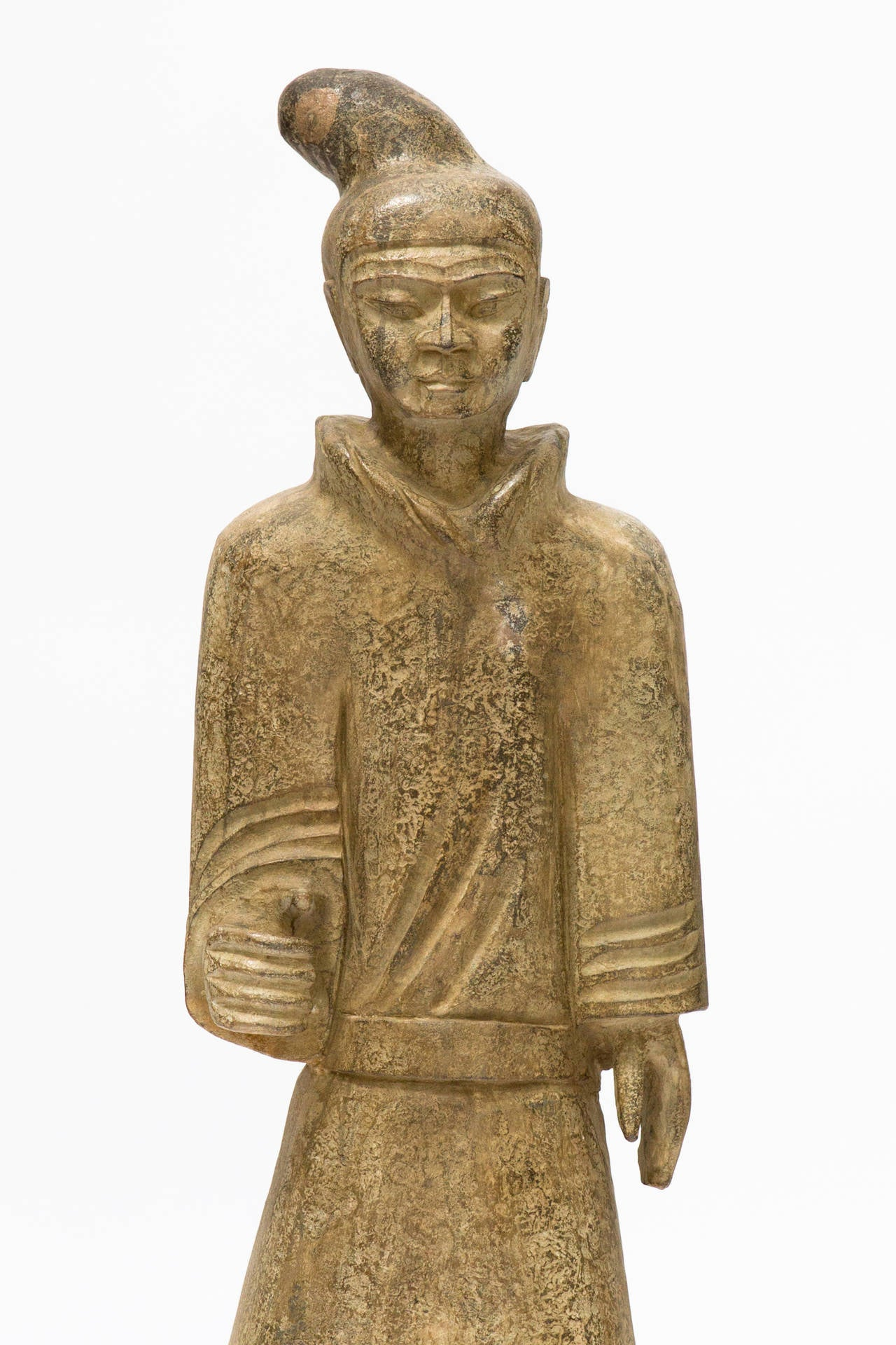 Foot high carved stone asian guard statue for sale at