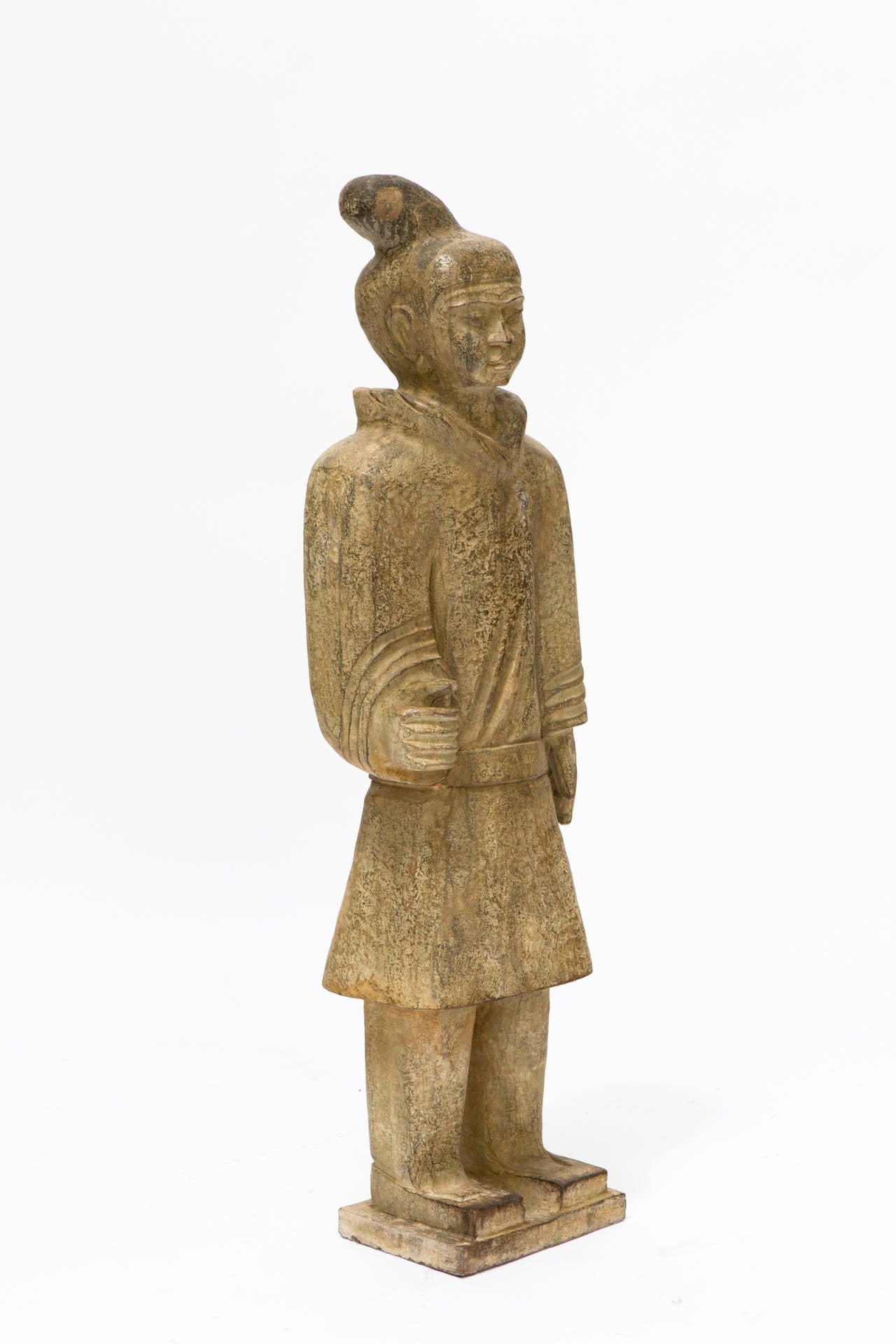 Carved Stone Statue : Foot high carved stone asian guard statue for sale at
