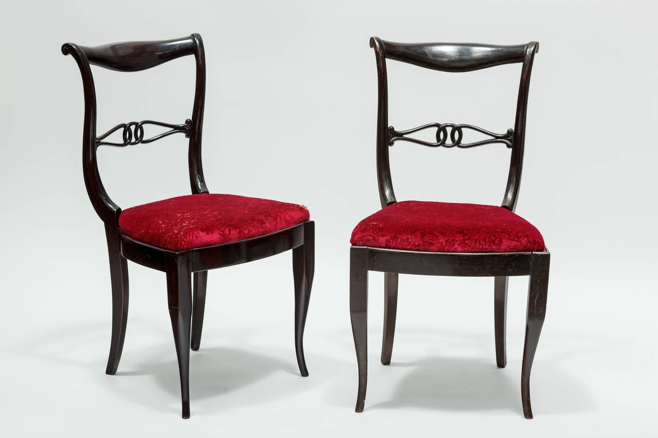 Set of hollywood regency dining chairs at 1stdibs for Regency furniture living room sets