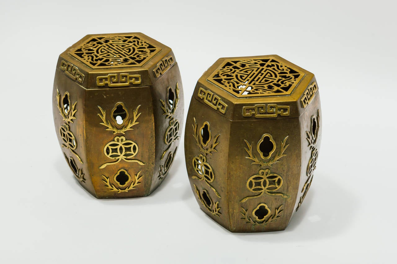 Pair Of Asian Brass Garden Stools For Sale At 1stdibs