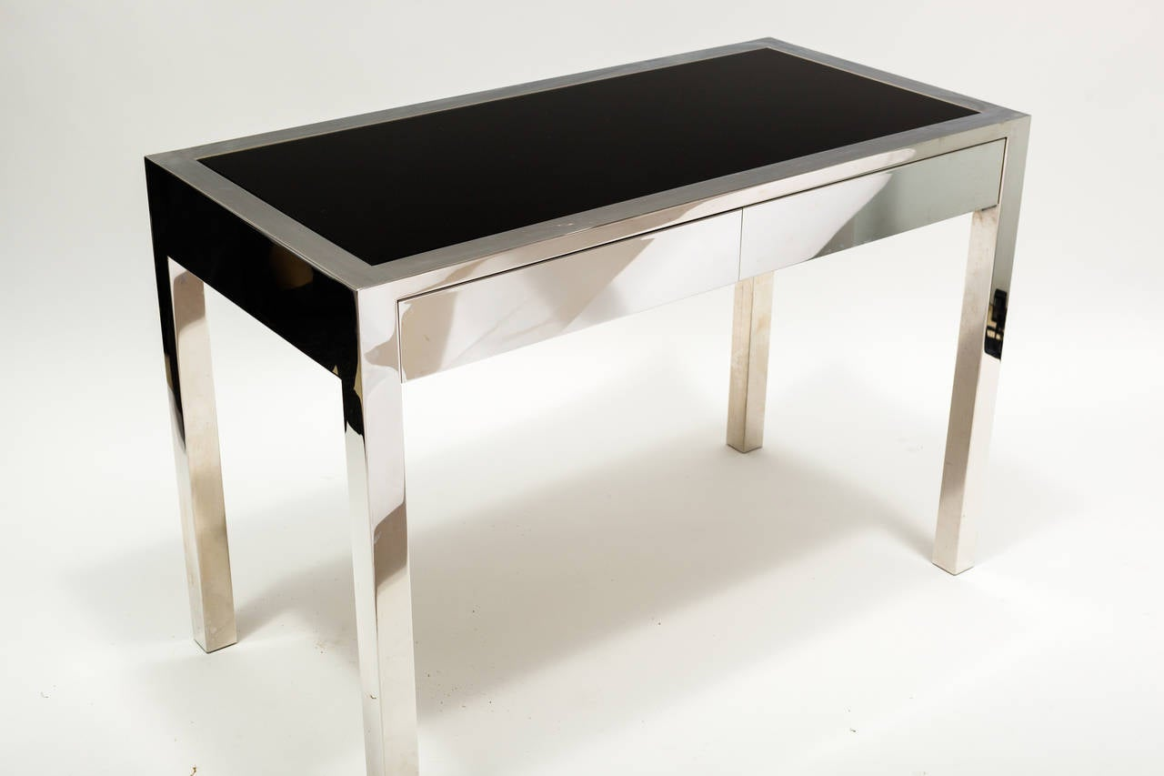 polished chrome and glasstop desk at stdibs - polished chrome and glasstop desk