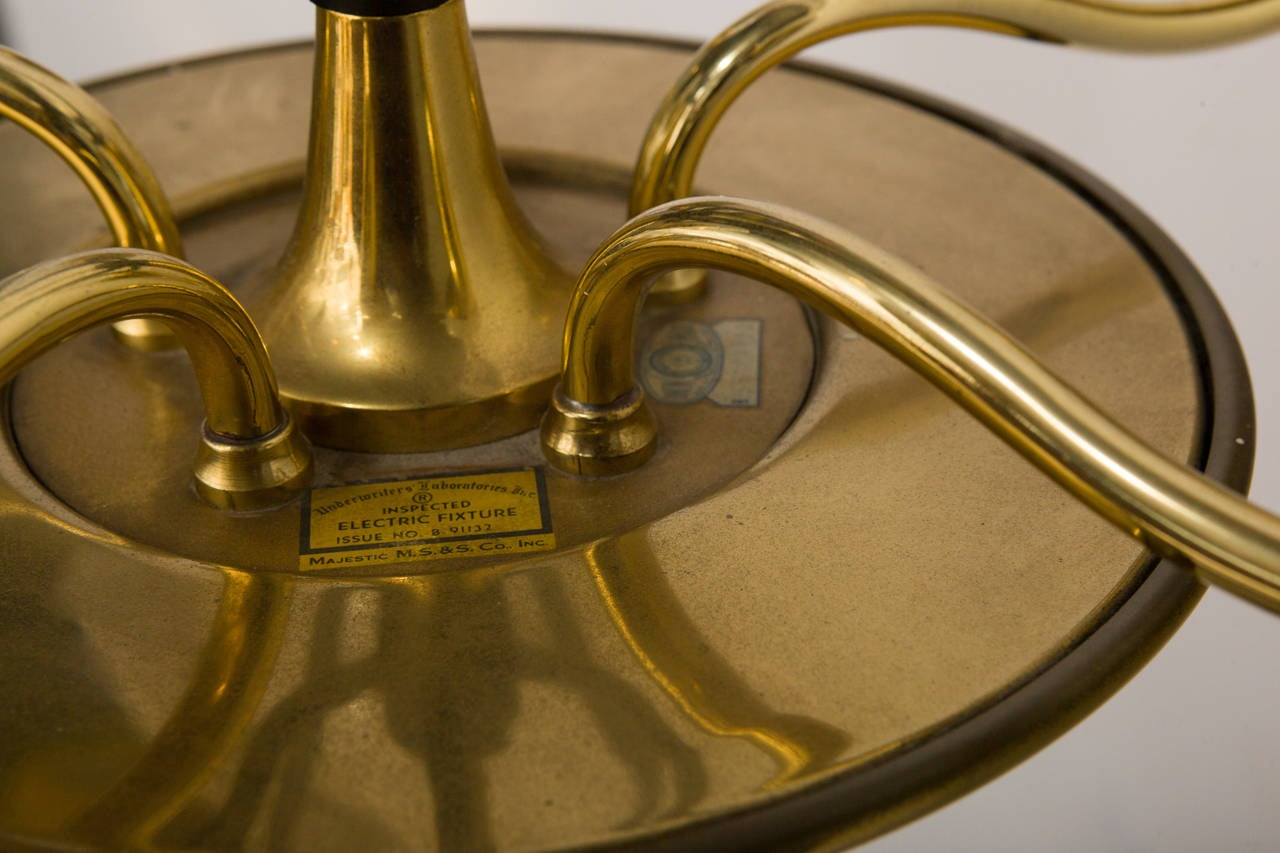 Mid-20th Century Brass and Glass Five-Arm Chandelier For Sale