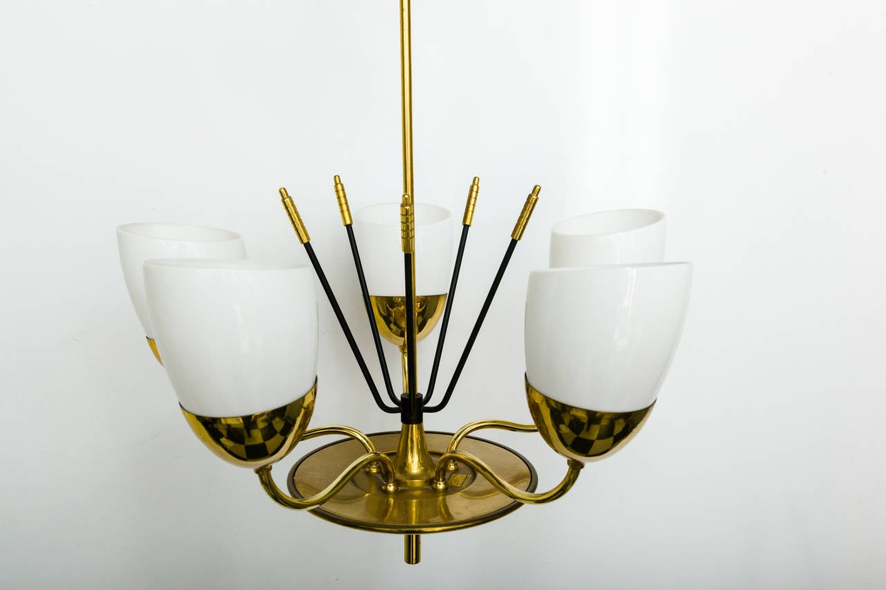 Brass and Glass Five-Arm Chandelier In Good Condition For Sale In Tarrytown, NY