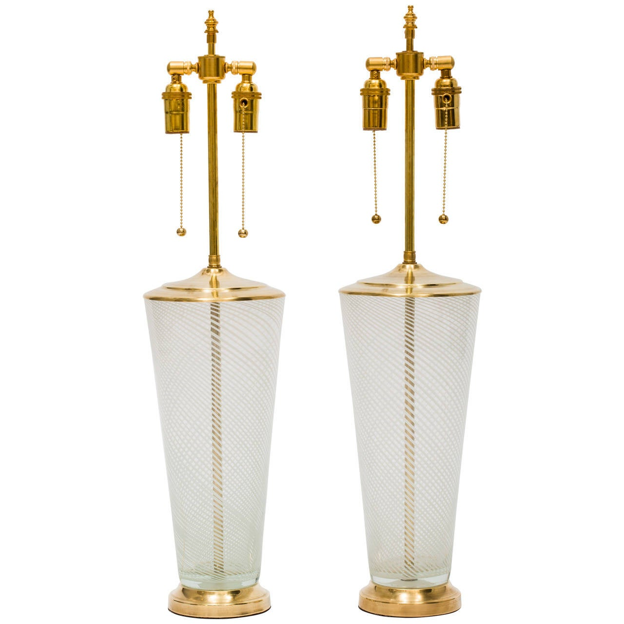 Large Pair of Glass Lamps in the Manner of Venini