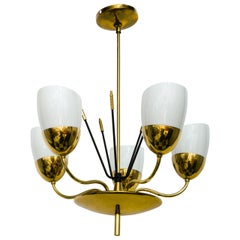 Brass and Glass Five-Arm Chandelier