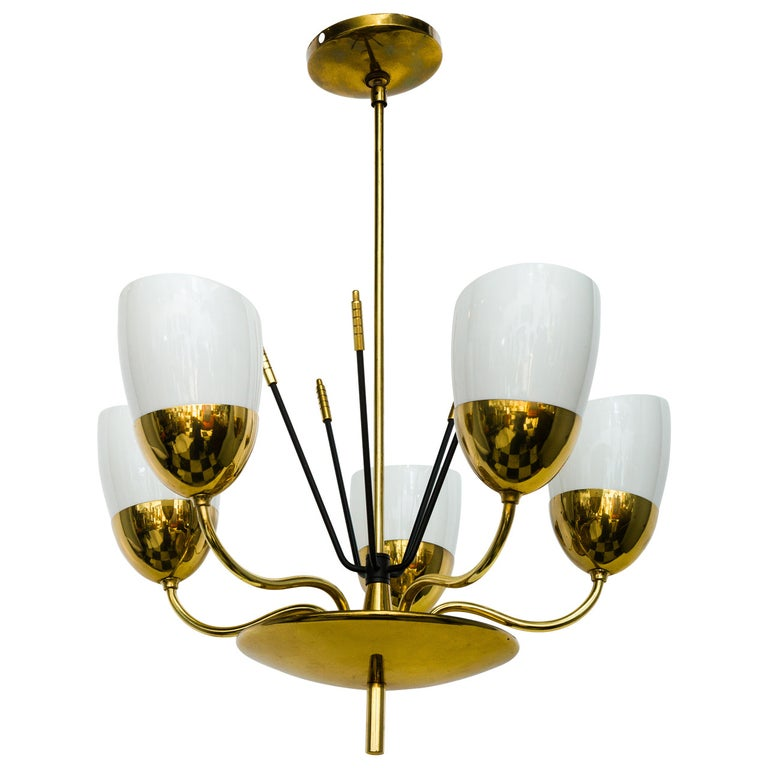 Brass and Glass Five-Arm Chandelier For Sale